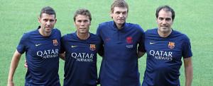 Rubi, el segundo por la derecha, junto a Tito Vilanova, al que sustituye de momento en el Barça.