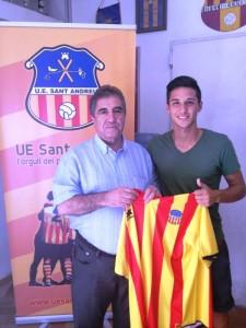 Aitor Ramírez, durante su presentación como nuevo jugador del Sant Andreu.