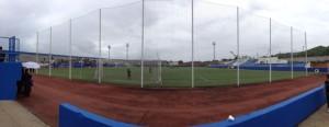 Fotografia actual de l'estadi de Can Misses, sense graderia coberta.