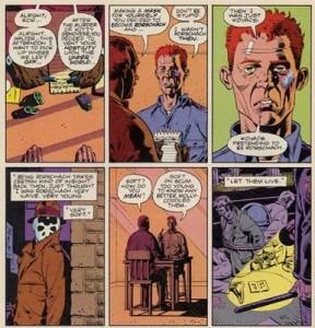 El inquebrantable y reaccionario Rorschach, personaje fundamental de Watchmen.
