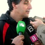 Pepe Sala, segundo técnico del Formentera, atiende a los medios tras el partido