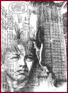 Michael padre e hijo, en una magnífica viñeta de Richard Piers Rayner ambientada en Chicago.