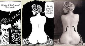 Parte del proceso creativo de Le Violon d'Ingres, de Man Ray con Kiki, comparado con el resultado final.