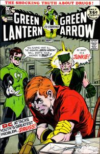 Impactante portada para Green Lantern & Green Arrow numº 85. 1ª parte de la saga de las drogas.