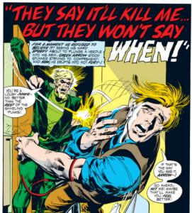 Portadilla interior de la 2ª entrega. Green Arrow abofetea a su pupilo cuando descubre su secreto inconfesable.