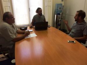 Aitor Morrás, Baltasar Picornell i Miquel Vericad, durant la reunió d'aquest dijous.