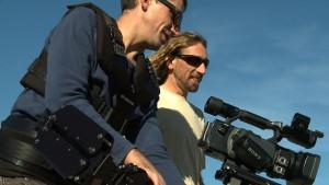 Un momento del rodaje del documental de los hermanos Alcántara