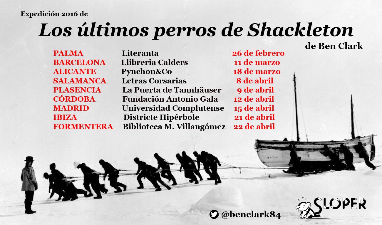 En la imagen, el calendario de presentaciones de 'Los últimos perros de Shackleton' en toda España.
