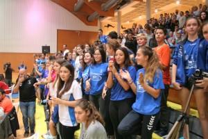 Unas 650 personas acompañaron al equipo en el triunfo conseguido en el pabellón de Santa Eulària