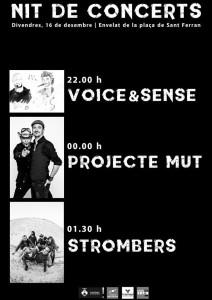 El nou cartell del concert del proper divendres.