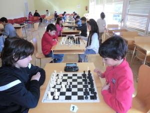 Los jugadores benjamines e iniciación, en un momento de la competición.