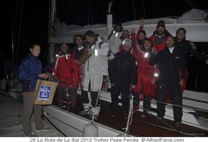 Los ganadores de la versión Este, a su llegada a Sant Antoni