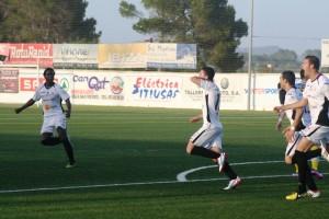 Pau Pomar celebra el primer gol del partido conseguido por la Peña en el minuto 16.