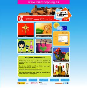 Una imagen de la pantalla inicial de la nueva web de compras ibizashop