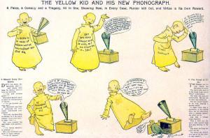 Antológica tira fechada el 25 de octubre de 1896 bajo el título The Yellow Kid and is New Phonograph, la primera jamás publicada.
