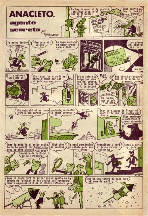 Primera historieta con un Anacleto... ¡calvo!  (Pulgarcito, nº 1753)