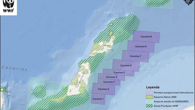 Mapa de las prospecciones petrolíferas en Canarias. Imagen: WWF.