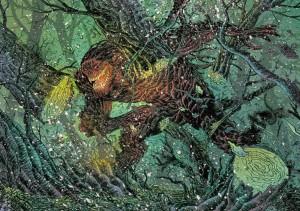 Impresionante ilustración a doble página de Grendel, primer monstruo al que se enfrenta el protagonista.