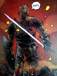 Un Beowulf viejo y coronado rey, pero aun en forma, en su enfrentamiento final con el dragón.