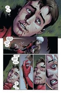 Página completa en la que el joven Peter Parker fallece ante su tía May.