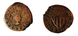 Moneda emesa a Eivissa al segle XVII durant el regnat de Carles II coneguda amb el nom de sou (o cinquena). A Eivissa, fent un ràpid repàs històric, es va encunyar moneda des de l'època púnica fins al segle XIX.  Foto: Enciclopèdia d'Eivissa i Formentera