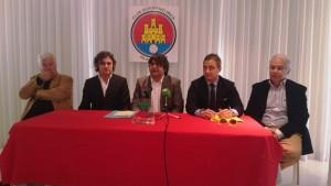 Joan Riera, Massimo Anselmi, Pepe Vidal, Filippo Valli y Paco Serrano, durante la presentación en el Hotel Pachá.