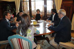 Vicenç Vidal y Vicent Torres, durante la reunión con la ministra de Medio Ambiente.
