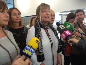 La consellera de Salut, Patricia Gómez, en declaraciones a los medios, en Can Misses.