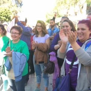Los representantes de Podemos en la manifestación.