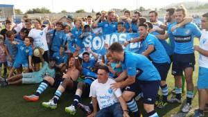 La alegría se ha apoderado de los futbolistas tras la consecución del ascenso