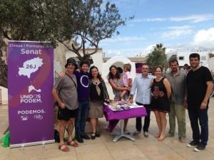 Los candidatos de Unidos Podemos, hoy en Formentera.