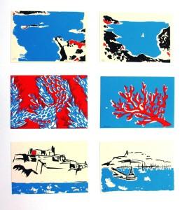 Muestra de las seis serigrafías presentadas por las ibicencas para Algaid'art.
