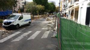 Imágenes del lunes 17 de octubre, tras la primera semana de obras en el paseo de Vara de Rey.
